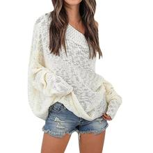 Sexy Women Sweaters Fashion Off Shoulder Knitted Sweater Lady Jumper Woman Pullovers Femme Outwear Autumn Knit top WS2349V