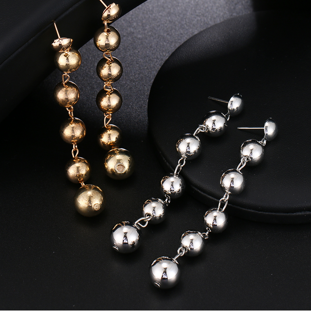 Sexy Oversize Large Round Ball Earring For Women Exaggeration Gold Sliver Colour Geometric Statement Big Long Dangle Earrings 5