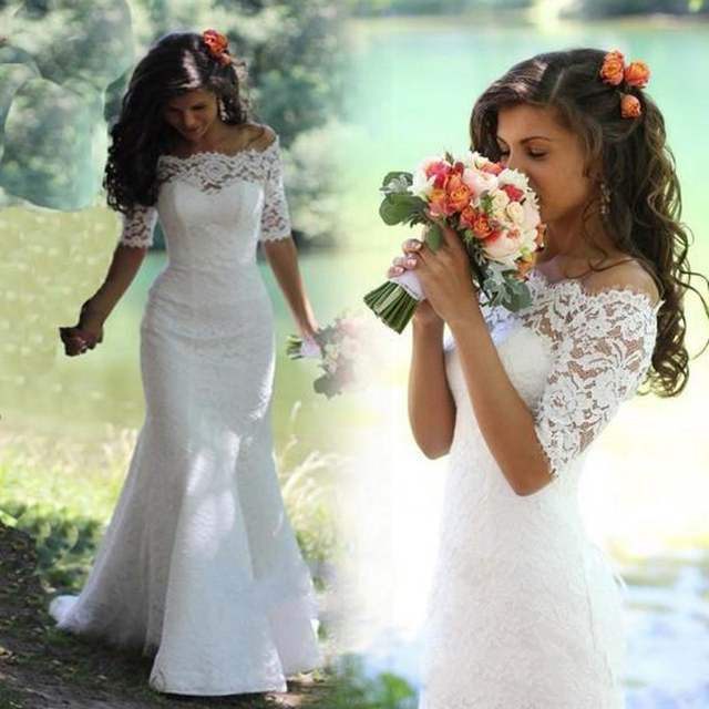 Online Shop Custom Made New Short Sleeves Lace Mermaid Wedding Dress  vestidos de noiva Off the Shoulder Bridal Gowns Wedding Gowns for Bride  b1ff40a17026