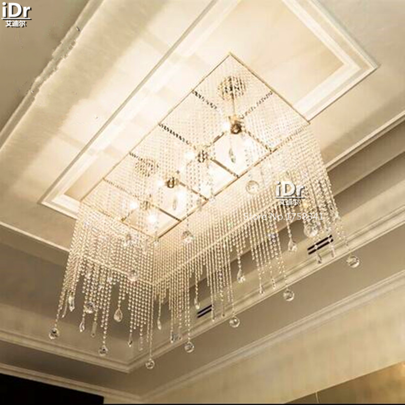 New High End Luxury Villa Living Room Dining Modern Minimalist Rectangular Crystal Lamp Chandeliers