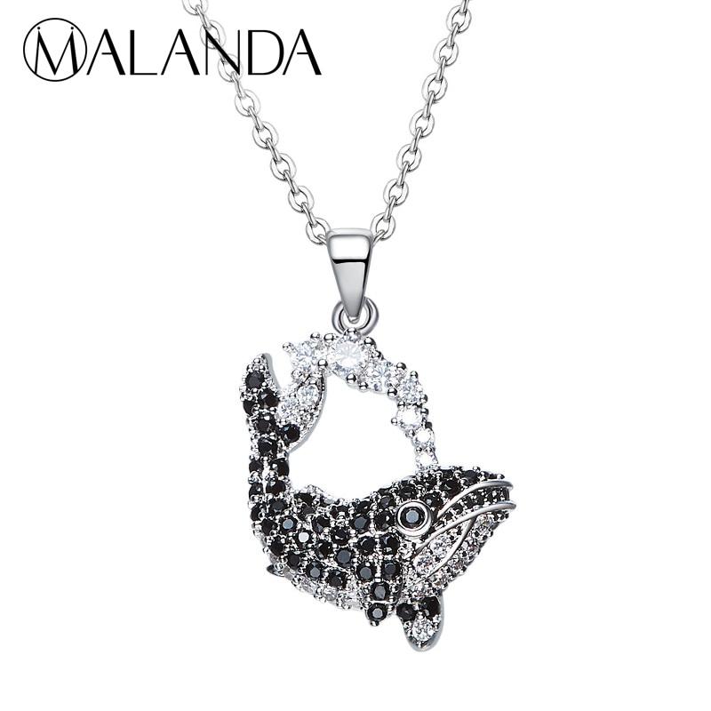 042c71b4da83 MALANDA A Estrenar Diseño de Moda Collares Colgante En Forma de Ballena Del  Océano Azul Cristales ...