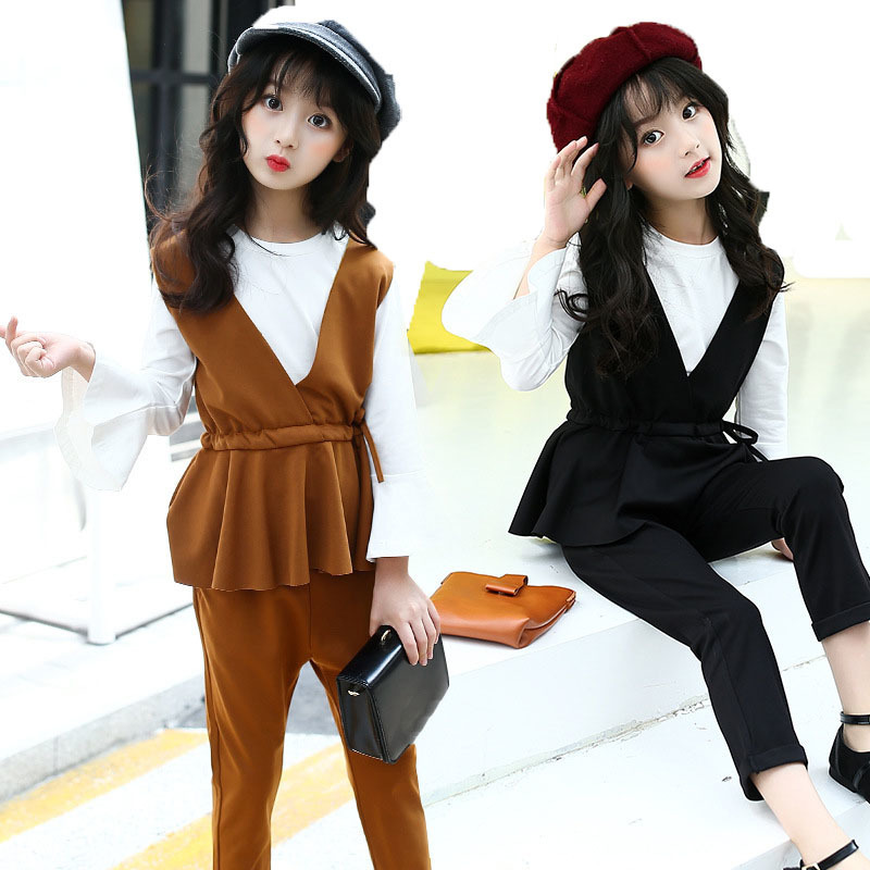 3 pieces big girls clothing sets spring 2018 black brown baby girls pants set ruffles vest t shirts pants kids clothes suits baby kids girls top pants hat set 3 pieces clothing outfit costume ruffled clothes 0 3y p3