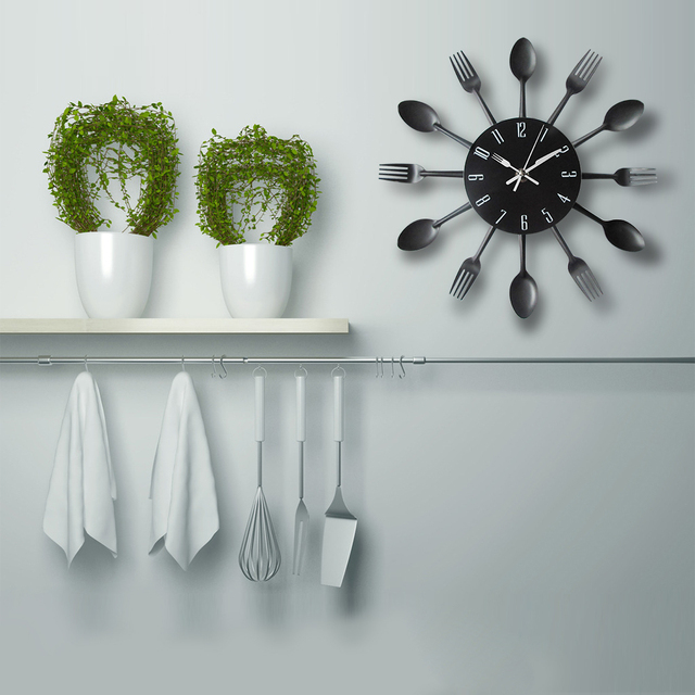 Cutlery Metal Kitchen Wall Clock Spoon Fork Creative Quartz Wall Mounted Clocks Modern Home Decor Modern Design Decorative