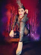 Nightclub Female Singer Sexy Perspective Black Shinny Rhinestone Jumpsuit Stage show Dance Wear Party Dress