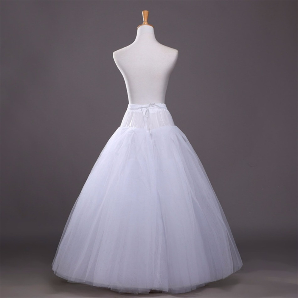 A-line Style White Petticoat For Dress One Hoops 4 Layers Wedding Accessories Underskirt Free Size Crinoline Wedding Petticoats