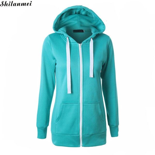 Women cotton Hoodies Women Slim basic color Pullover casual Sweatshirts  Button Pocket hoody winter plain Top Shirt 0435c80fe472