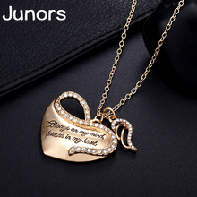 gold love heart angle wings letter necklace for women faith statement pendant fashion jewelry Valentines Day present