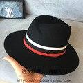 Двойной М уродство хомбург три цвет сшивание джаз шляпа шляпа лента ткани мужчин и женщин