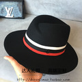 Double M the abnormity homburg three color stitching jazz hat hat ribbon cloth men and women
