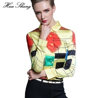 Huashang Womens Tops Korean Autumn Chiffon Blouse Plus Size Women Geometric Print Long Sleeve Blouses Work