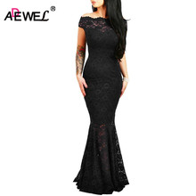 ADEWEL 2019 Women Sexy Lace Off Shoulder Elegant Floor Long Dresses Vintage Mermaid Formal Party Dress Bodycon Maxi