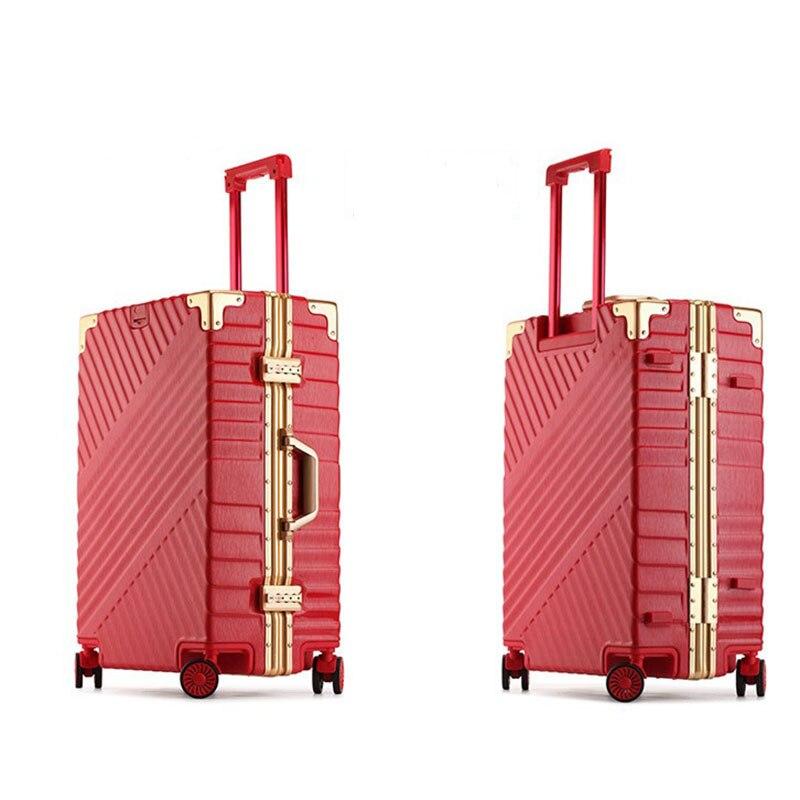 """Bagaj ve Çantalar'ten Tekerlekli Bagaj'de 20 """"24"""" 26 """"29"""" Vintage haddeleme hardside bagaj seyahat bavul tekerlekli kolları özel lazer gravür'da  Grup 3"""