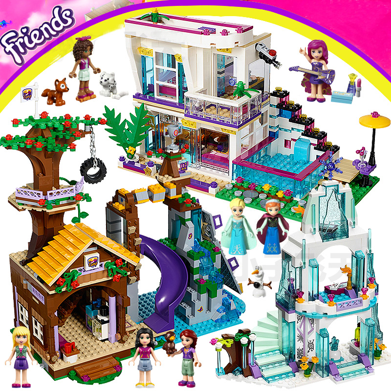 Girl Building Blocks Princess Palace Elsa Ice Castle Girls House Elves Dragon Assembled Bricks Toy Compatible LegoINGly Friends 2016 new bela building blocks toy set princess jasmine s exotic palace 41061 girl lepine bricks toys compatible with friends