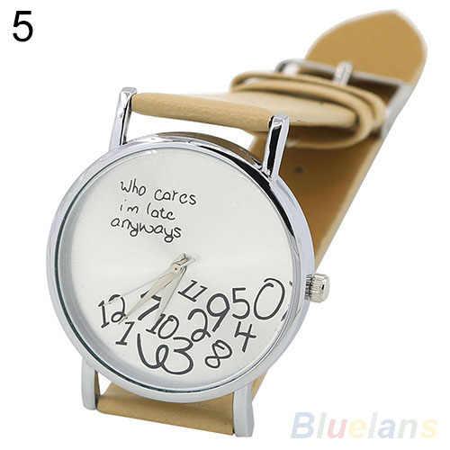 Для женщин Для мужчин Нержавеющаясталь Кто заботится Искусственная кожа арабские цифры с принтом букв наручные часы браслет Мода 2018 унисекс популярные