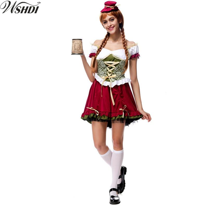 S-XL Women Sexy Oktoberfest Beer Maid Peasant Costume German Wench Maiden Dirndl Fancy Dress