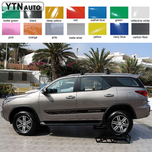 car stickers 2PC stripe grid styling side door graphic vinyl cool modified accessories decal custom for toyota FORTUNER