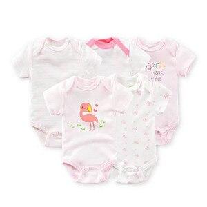 5 шт./упак. боди для мальчиков и девочек, детская одежда из 100% хлопка, новорожденный короткий рукав, боди для малышей, мультяшный комбинезон