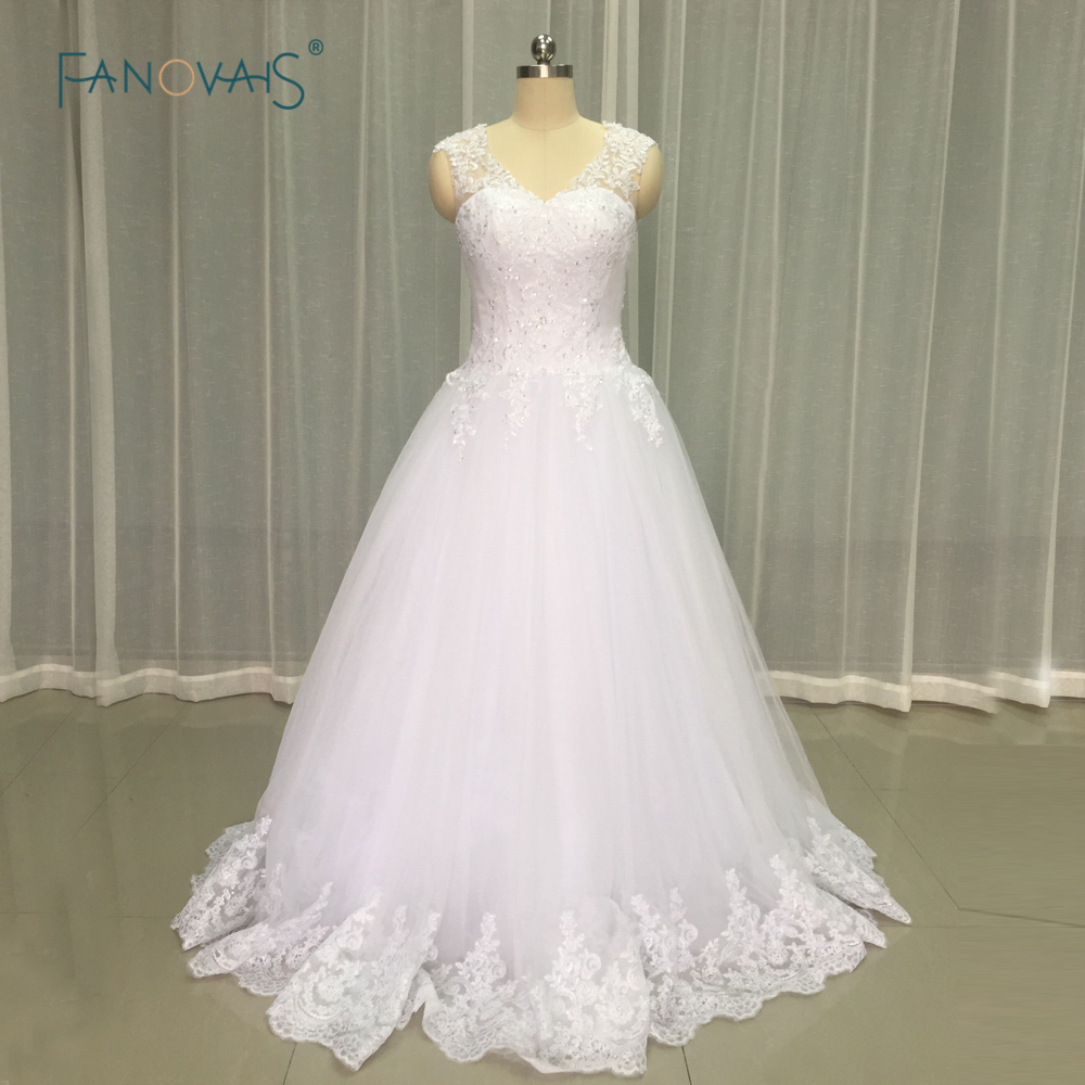 Free shipping wedding dresses illusion back plus size lace for Cheap princess wedding dress
