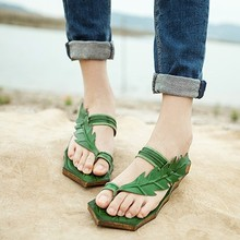 2014 sandals vivi small fresh flat sandals genuine leather handmade women's shoes green