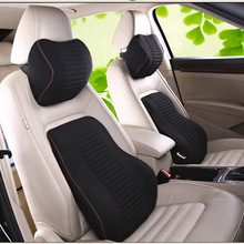 New Car Neck Pillow Lumbar Waist Support Headrest Pillows Back Cushion Seat Supports Memory Foam Seat Covers Auto Accessories недорого