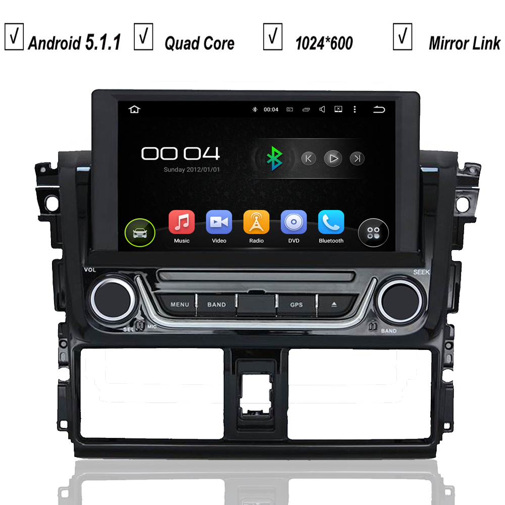 In dash car entertainment system gps navigation for toyota yaris 2014 android 5 1 quad core radio