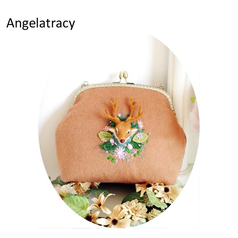 Angelatracy кашемир Лось сумки Олень дикой природы с цветочной вышивкой клатч бусинами шерстяной войлок Винтаж металлический каркас сумки ...
