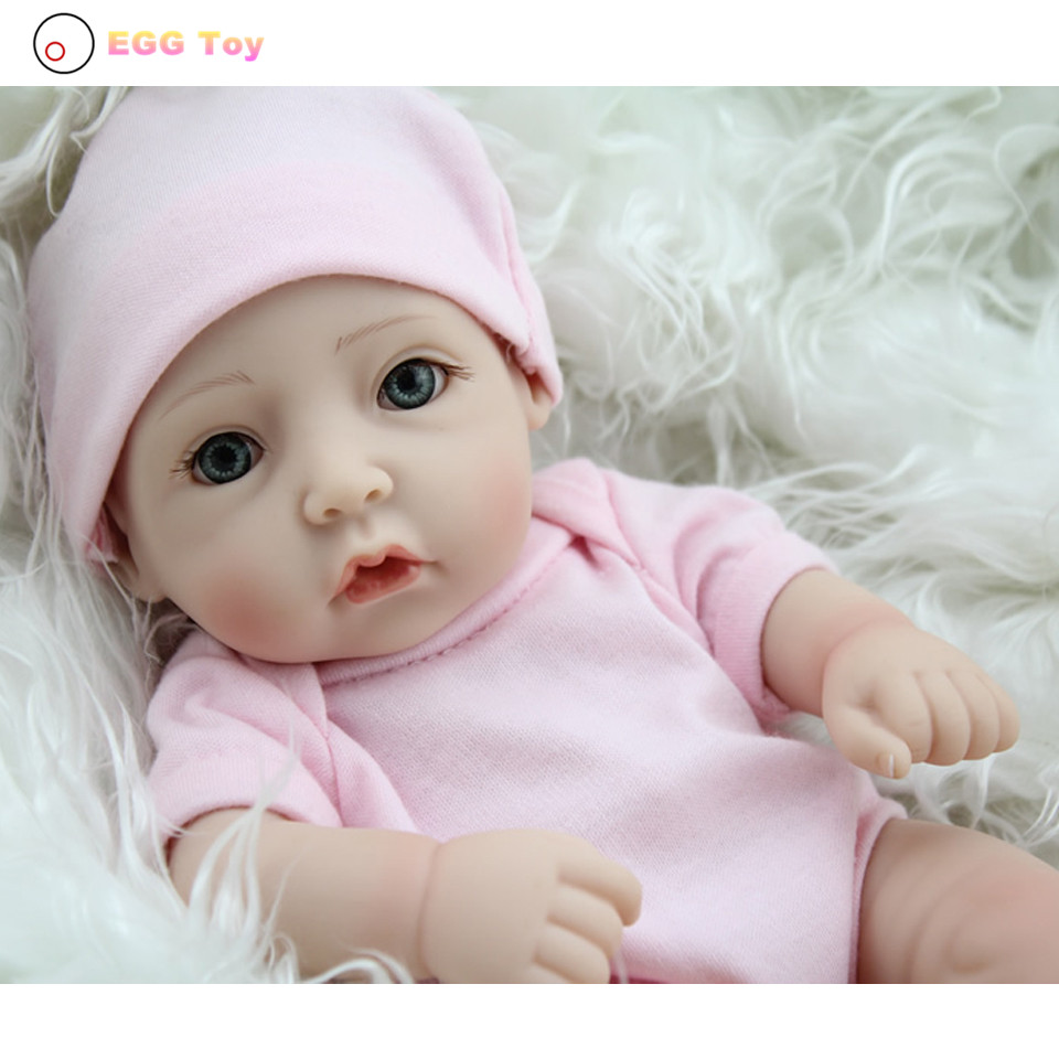 ФОТО Pink Full body Silicone Reborn Baby Doll Toys 28cm blue eye Lifelike Baby Girls Doll Play House toy Reborn Doll Educational toys