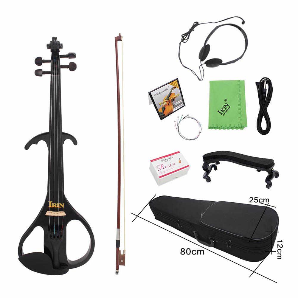 عالية الجودة 4/4 كامل الحجم الكمان الكهربائي الكمان القيقب الخشب صك الوترية الأبنوس وحة الفريتس للموسيقى عاشق المبتدئين