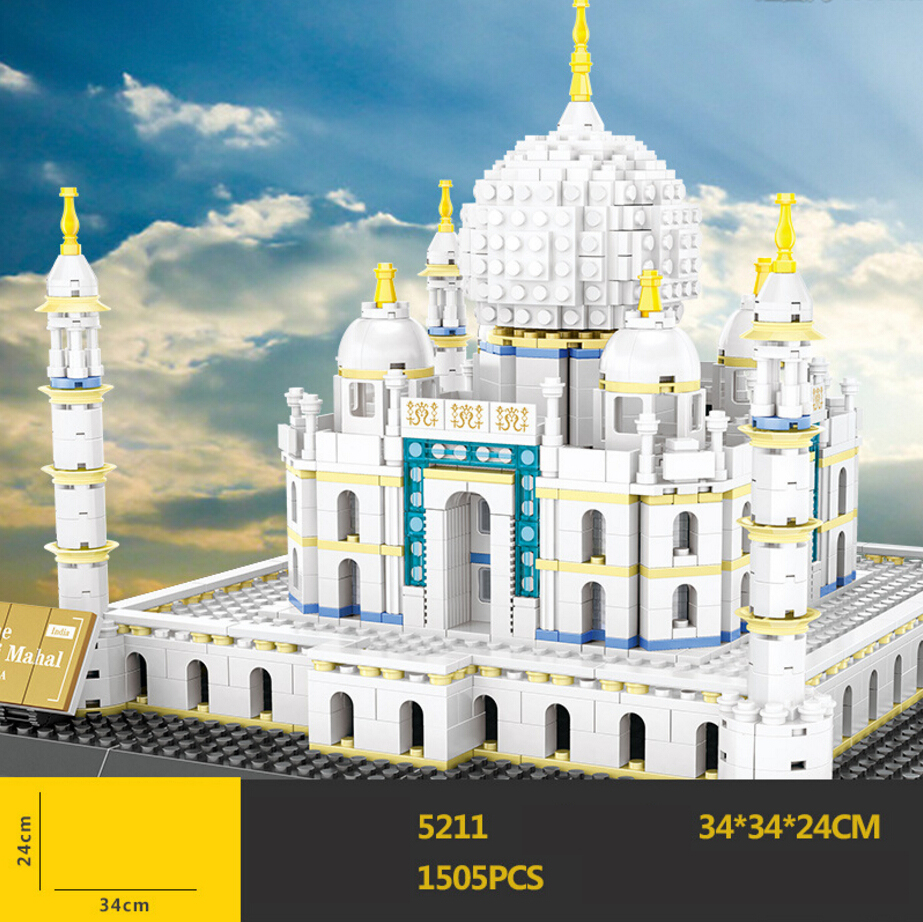 Hot world famous Architecture Taj Mahal India temple building block model bricks educational toys collection for adult kids gift hot world famous architecture the leaning tower of pisa italy building block model bricks educational toys collection for gifts