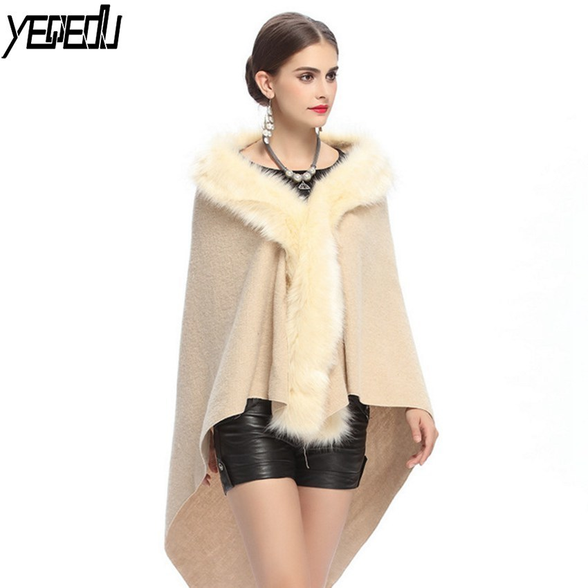 #7225 Graceful Faux fox fur collar Pashmina Shawls Long Mantle Coat Luxury brand Ponchos and capes Echarpe hiver femme shawls