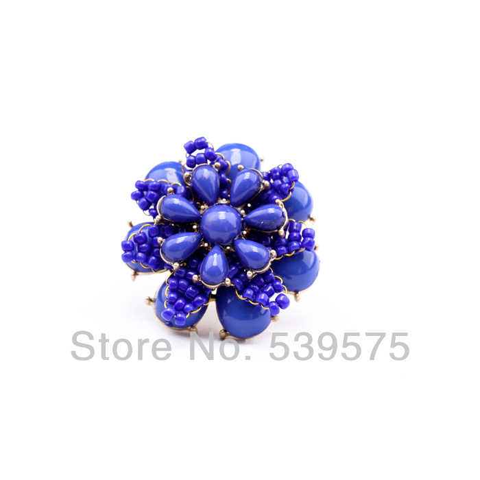Jz00103อินเทรนด์ยอดนิยมแฟชั่นโอ้อวดแหวนดอกไม้