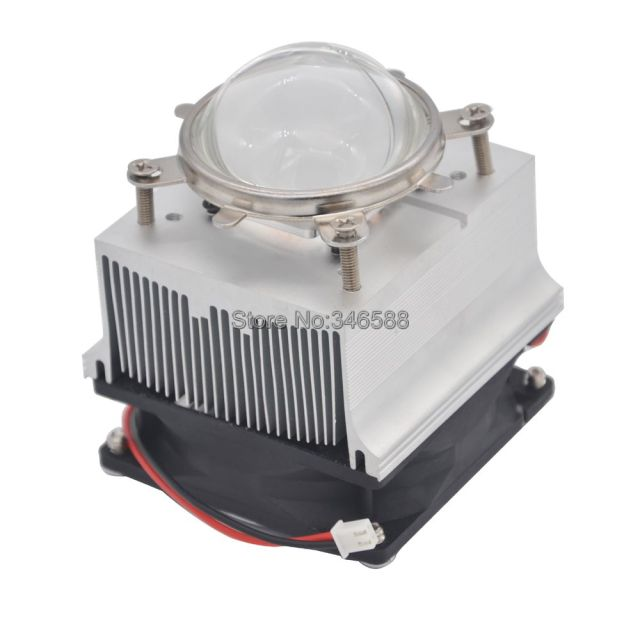 20W 50W 60W High Power LED Aluminium Heat Sink Cooling Fan + 90 Degree 57mm Optical Glass Lens + Reflector + Fixing Bracket Set