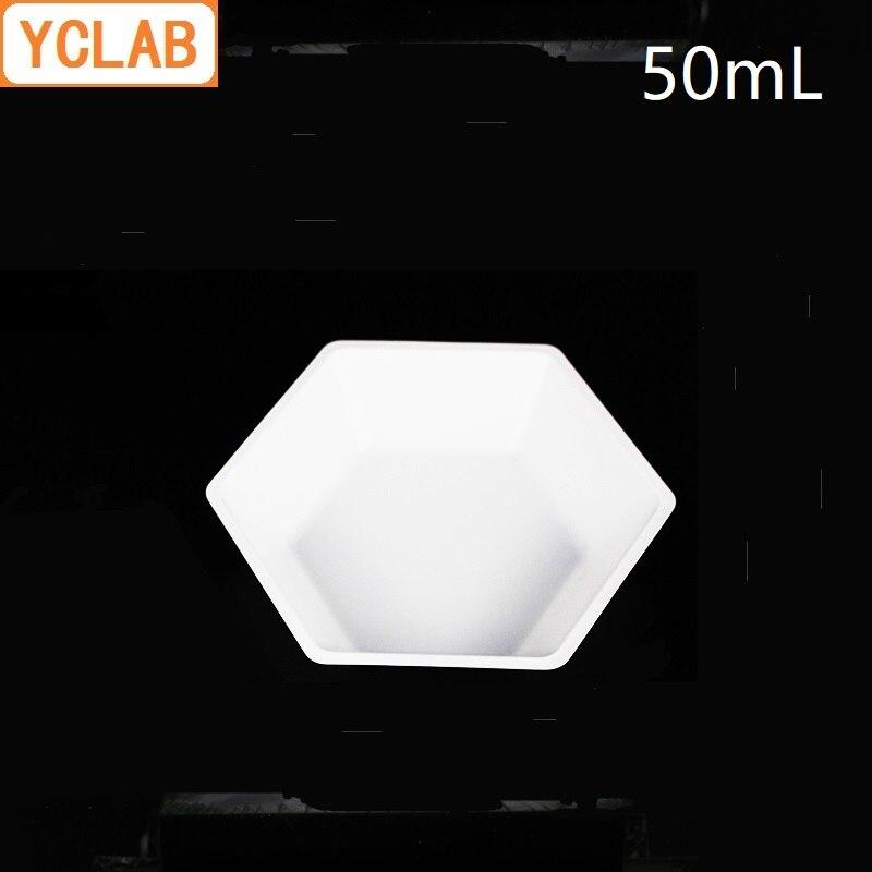 YCLAB ASONE 50mL Weighing Plate PS Plastic Boat Hexagon Dish Polystyrene Antistatic Laboratory Chemistry Equipment
