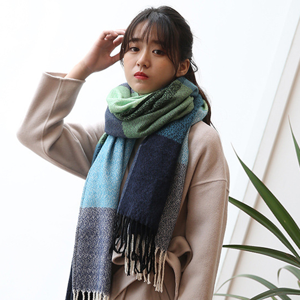 Winter Female Wool Scarf Women Cashmere Scarves Wide Lattices Long Shawl Wrap Blanket Warm Tippet Pashmina Tassels Women  Shawl