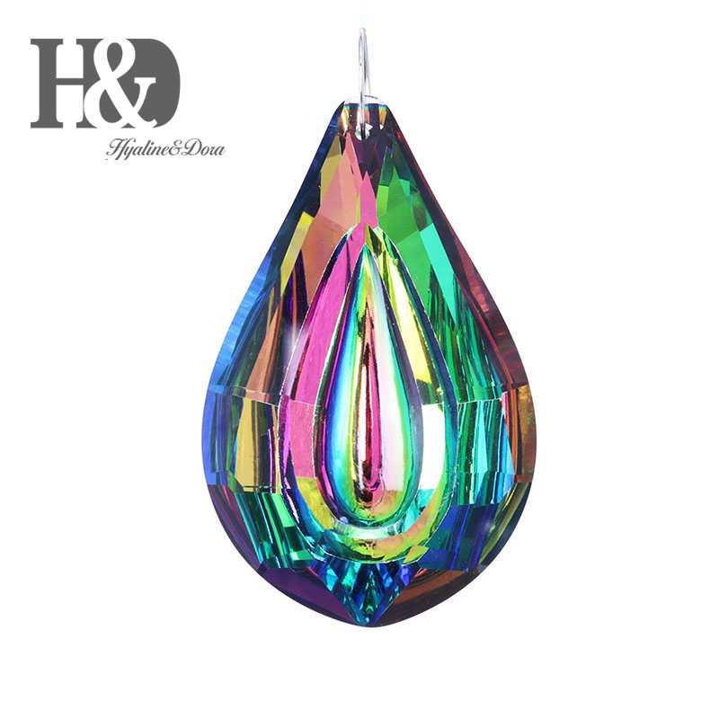 H&D 76mm Colorful Crystal Loquat Chandelier Lamp Hanging Ornament Parts,DIY Suncatcher Rainbow Maker Crystal Prisms Pendant