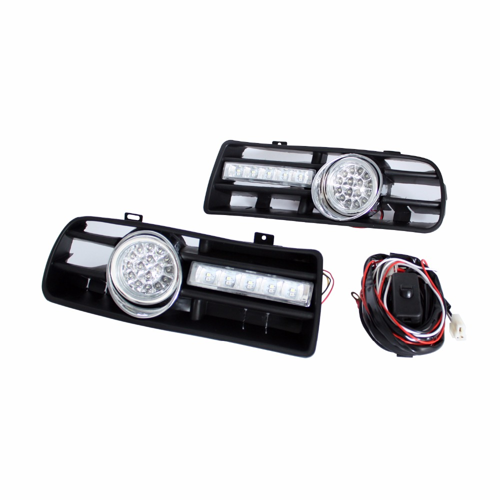 Auto LED Car Bumper Grille DRL Daytime Running Light Driving Fog Lamp Source Bulb For VW Volkswagen GOLF MK4 1998-2004 2pcs front bumper fog lamp grille led convex lens fog light angel eyes for vw polo 2001 2002 2003 2004 2005 drl car accessory p364