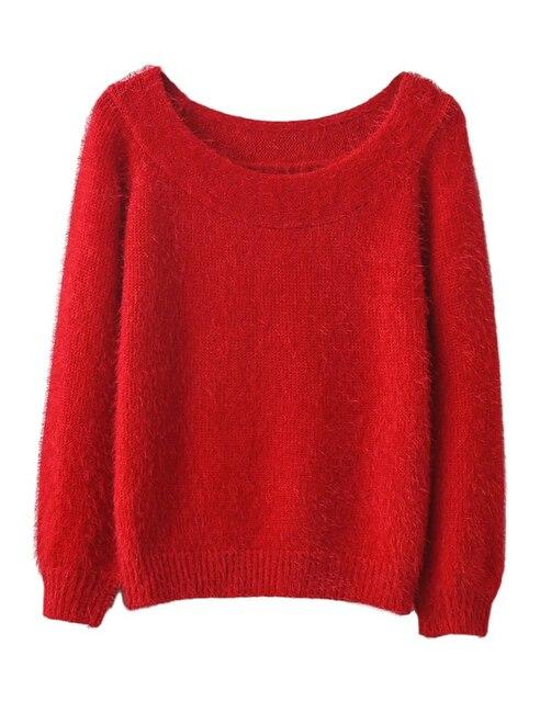 2016 осень и зима Европейский стиль сексуальный свитер сплошной цвет свободно вязать свитер женский