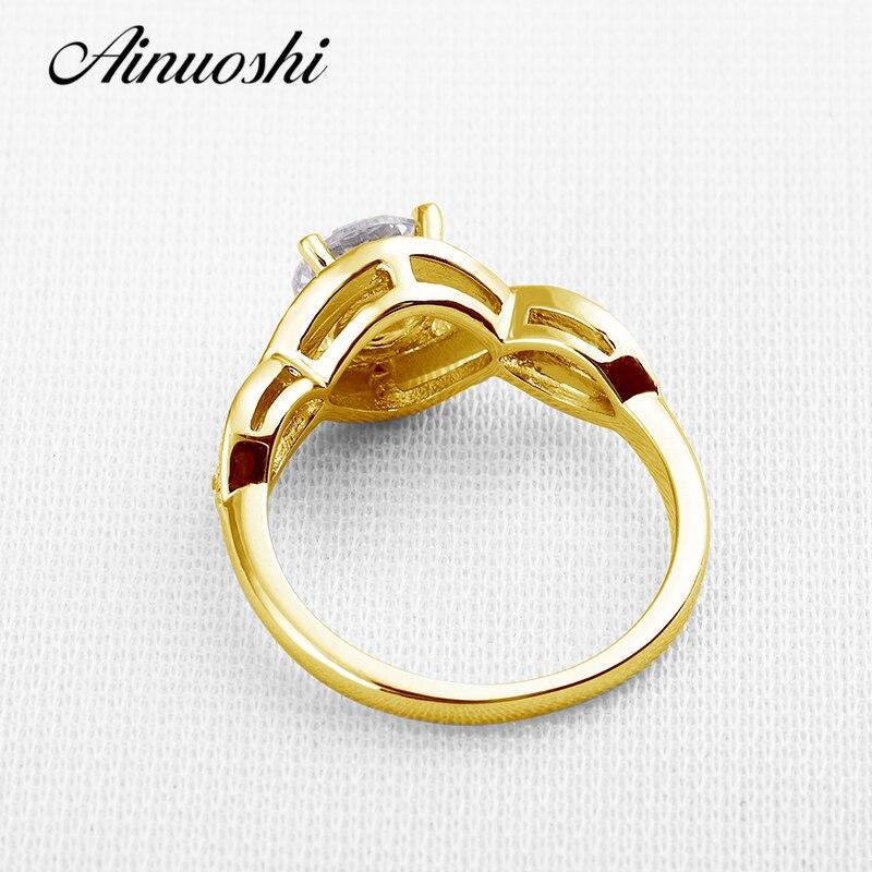 AINUOSHI 10 К твердого желтого золота обручальное кольцо витой крест Дизайн Joyas de oro 10 К NSCD Для женщин Имитация Алмазный обручение кольца