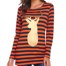 womens tops and blouses 2018 Womens Fashion Striped Top Christmas Deer Print Long Sleeve Blouse Ladies blouses chemise femme(China)