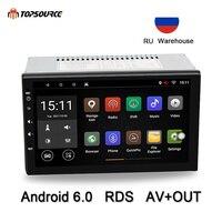 Topsource Универсальный 7 автомобильный dvd плеер с двумя цифровыми входами Rds автомобиля радио gps навигации wi fi Bluetooth Android 4 ядра 1 г/16 г 1024*600