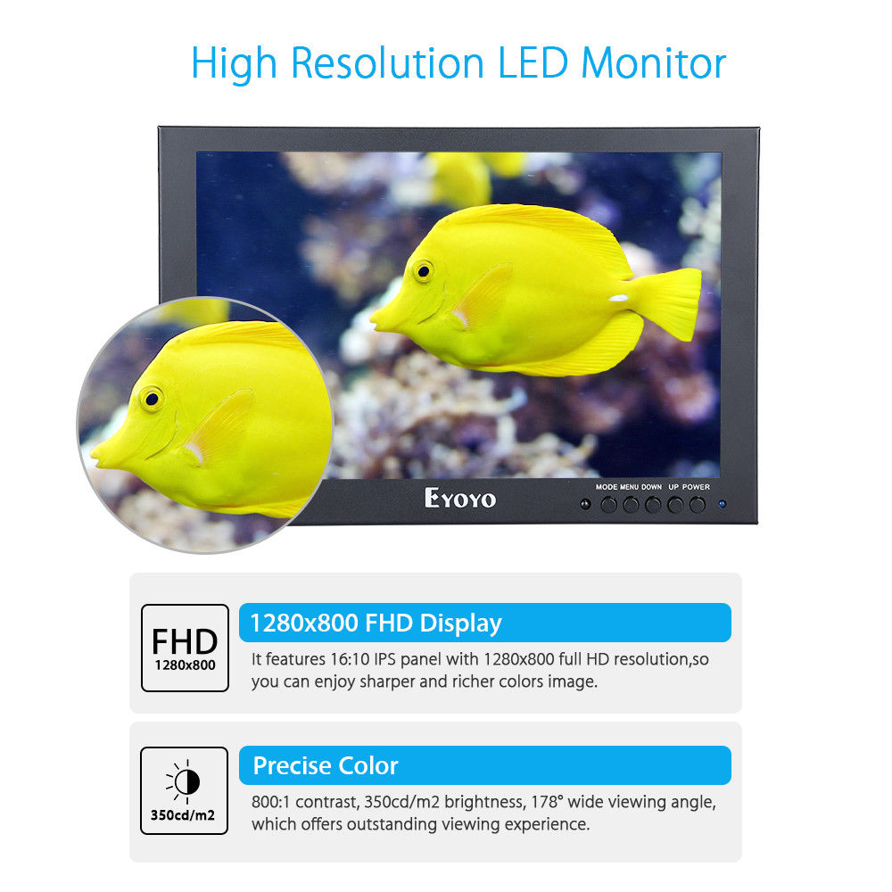 Eyoyo 10IPS LED Full 1280x800 Touch Screen Monitor With BNC VGA AV HD Video Input 350cd/m2 Black For PC Laptop DVR DVD CCTV
