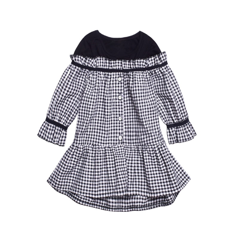 4-14 Yrs Girl Lattice Dress 2018 Spring New Cotton Long-sleeve Irregular Princess Dress Korean Style mother and daughter clothes fashion new korean style off shoulder and irregular hemline design dress