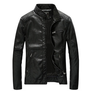 Image 2 - 2020 Spring PU Leather Jacket Men Solid Casual Faux Leather Coat Slim Fit Motorcycle Leather Jacket Outwear