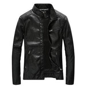 Image 2 - Chaqueta de cuero sintético para hombre, abrigo informal liso de piel sintética, chaqueta ajustada de cuero para motocicleta, prendas de vestir, primavera 2020