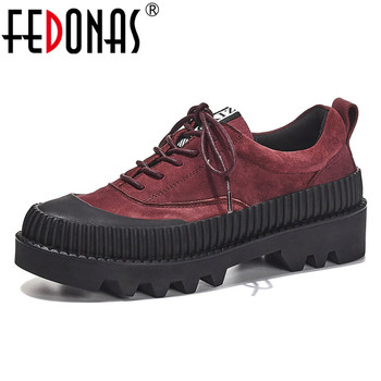 FEDONAS Classic Women Genuine Leather Retro Pumps Spring Summer High Heels Casual Platforms Shoes Woman 2020 Lace Up Basic Shoes