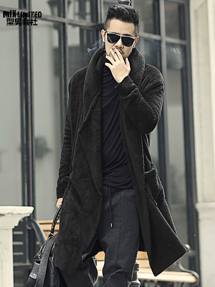 Winter Men Long Slim Black Plush Shawl Cashmere Cardigan Hooded Jacket Men Warm Pockets European Style Cardigan F7149