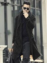 Zima mężczyźni długi slim, czarny pluszowy szal kaszmirowy kardigan kurtka z kapturem mężczyzn ciepłe, z kieszeniami europejski styl sweter F7149