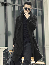 חורף גברים ארוך slim שחור קטיפה צעיף קשמיר קרדיגן סלעית מעיל גברים חם כיסים אירופאי סגנון קרדיגן F7149