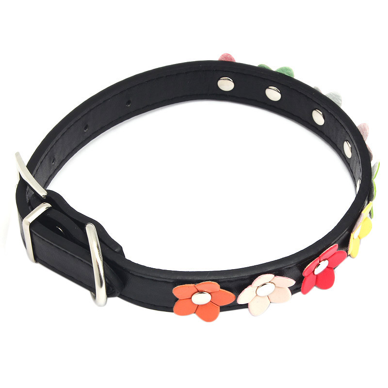 Fashion Leather Puppy Pet Dog Collar Cat Neck Strap Necklace with Studded Sweet Flower 5Colors S M L Sizes Supplies Pets