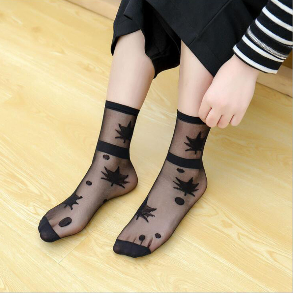 Harajuku flower sequins transparent shining tulle socks heap socks with colorful beads bling bling fairy